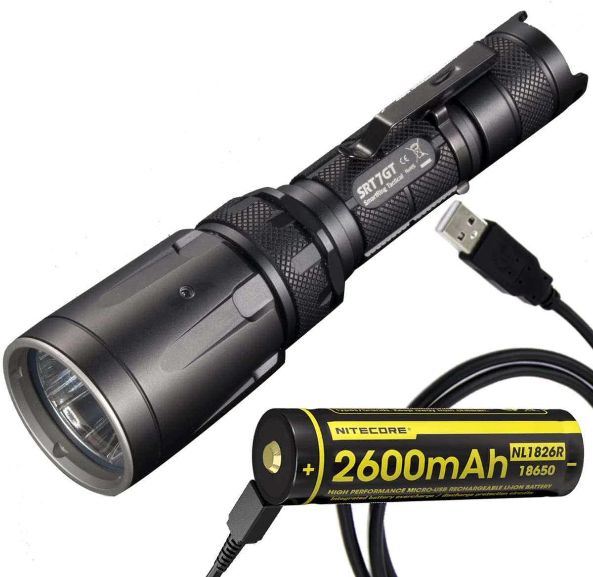 Nitecore SRT7GT Tactical Multi-LED Flashlight Plus NL1826R 2600mAh Rechargeable Battery with Built-in Micro-USB Charge Port & LumenTac USB Cable