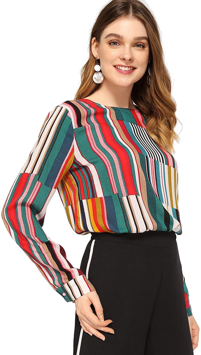 SheIn Women's Casual Long Sleeve Round Neck Tops Mixed Striped Blouse