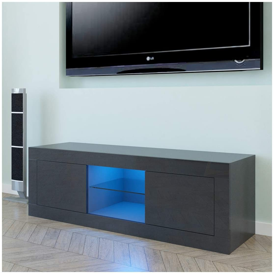 Household Decoration LED TV Cabinet, Elegant TV Stand with Two Doors, Black