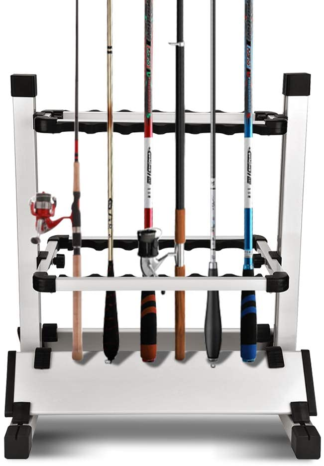 Ejoyous Fishing Rod Holder, 12 Fishing Rods Storage Rack Portable Aluminum Alloy Fishing Pole Stand Organizer Combo for Indoor Garage Outdoor