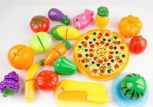Thinktoo 24 Pieces Kitchen Dinner Cutting Treats Fun Play Food Set Living Toys for Kids, learning toys montessori toys toddler activities