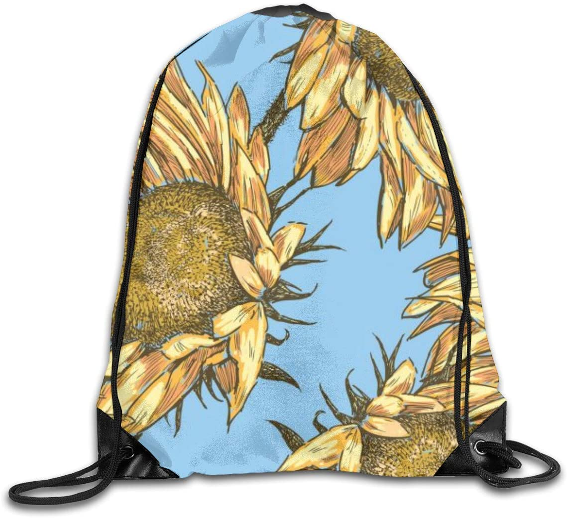 Beautiful Sunflower Drawstring Sports Backpack Gym Yoga Sackpack String Bag Travel Storage Sack For Women And Men Suitable For School Swim Running Beach Outdoor