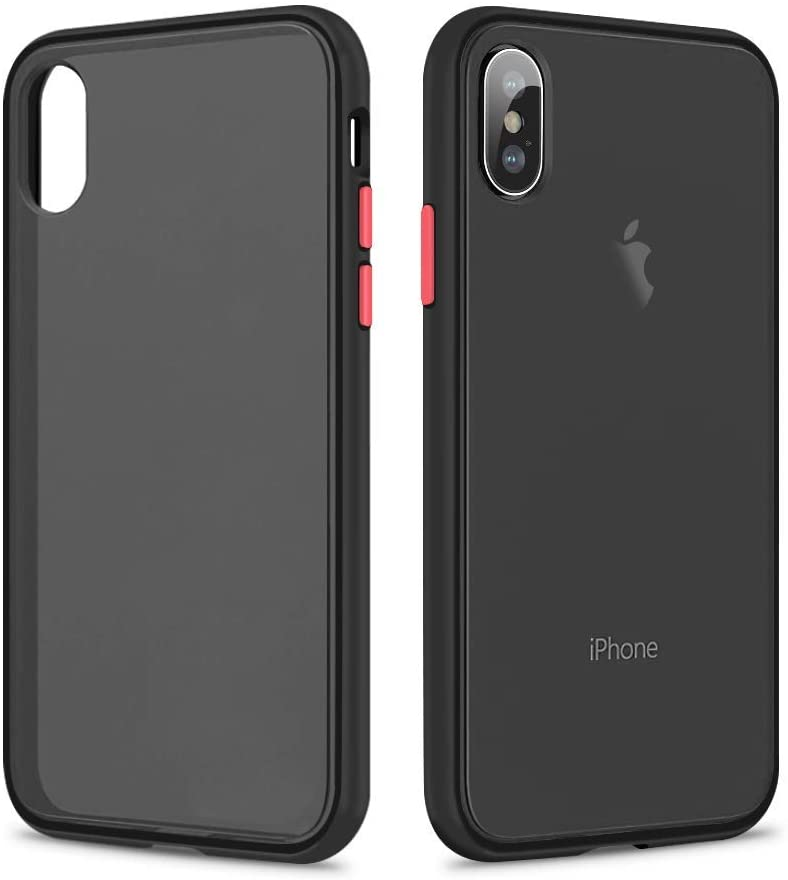 SURPHY Matte Case Compatible with iPhone X Case iPhone Xs Case, Translucent Matte Cover (Shockproof and Anti-Drop Protection) Frosted Case for iPhone X XS 5.8 inches, Matte Black