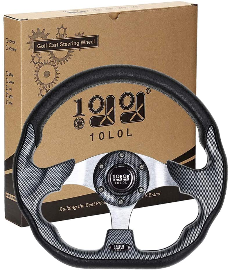 10L0L Golf Cart Steering Wheel or Adapter,Generic for Golf Cart Club Car DS & Precedent,EZGO RXV & TXT and Yamaha Carbon Fiber