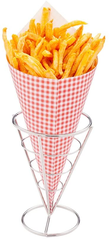 Conetek 11.5-Inch Eco-Friendly Finger Food Cones: Perfect for Appetizers - Food-Safe Paper Cone with Picnic Print Styling - Disposable and Recyclable - 100-CT - Restaurantware