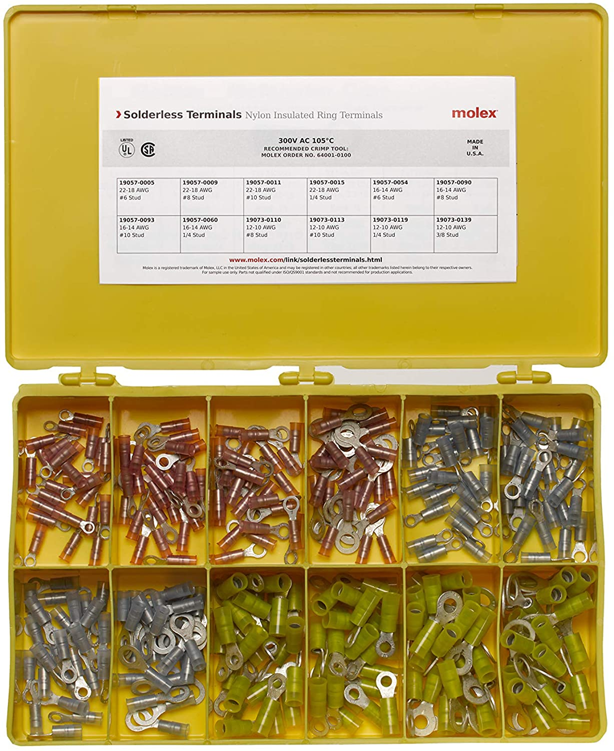 Molex 194130105 Solderless Terminals Kit, Nylon Insulated Ring Terminals, 300 Piece Kit, Made in America