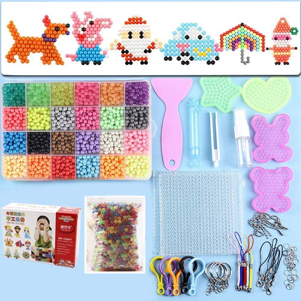 Water Fuse Beads Kit 24 Colors 40000 Beads, Creative Beads DIY Art Crafts Toys Magic Water Sticky Beads Complete Set for Children Beginners