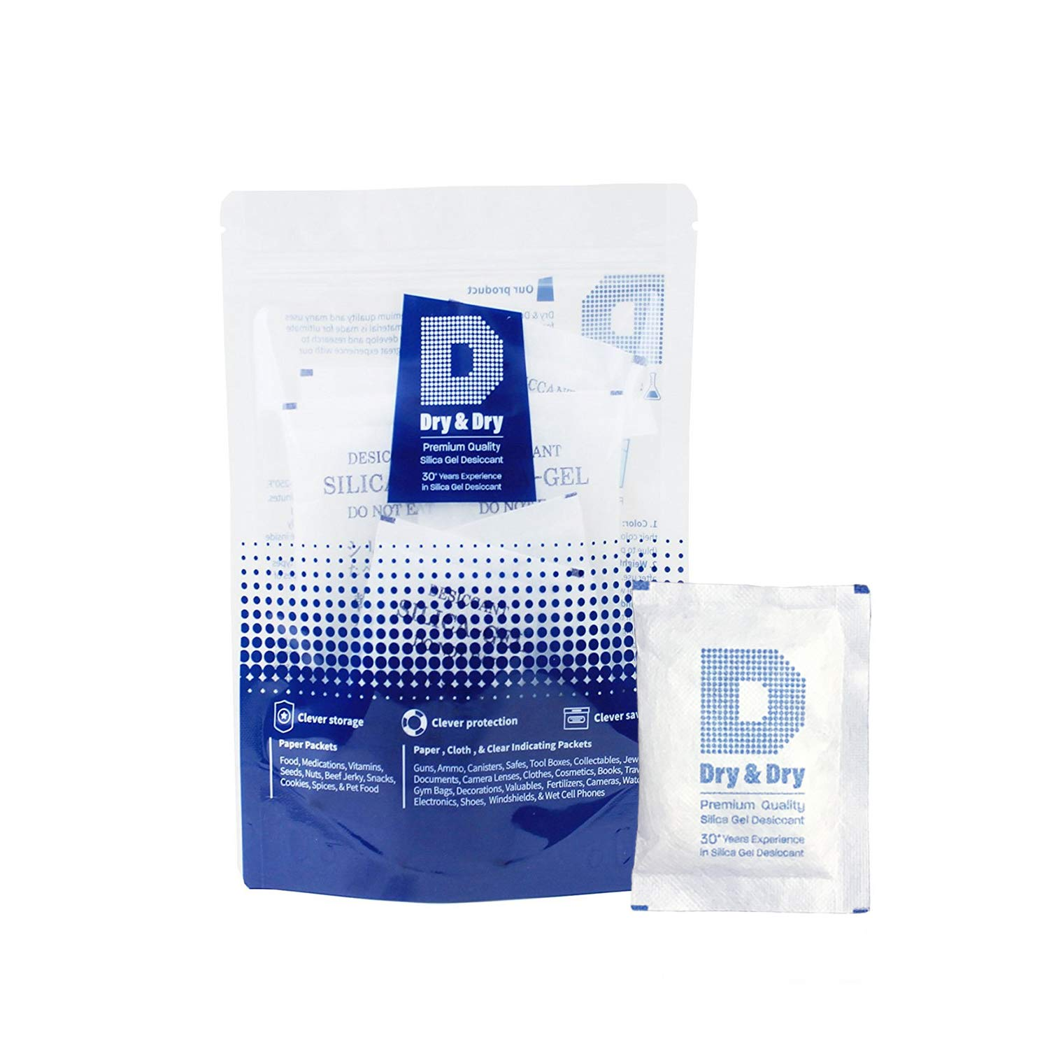 Dry & Dry 20 Gram [15 Packets] Silica Gel Premium Pure & Safe Silica Gel Packs Desiccant Dehumidifiers - Rechargeable Fabric Silica Packets for Moisture Absorber Silica Gel Packets