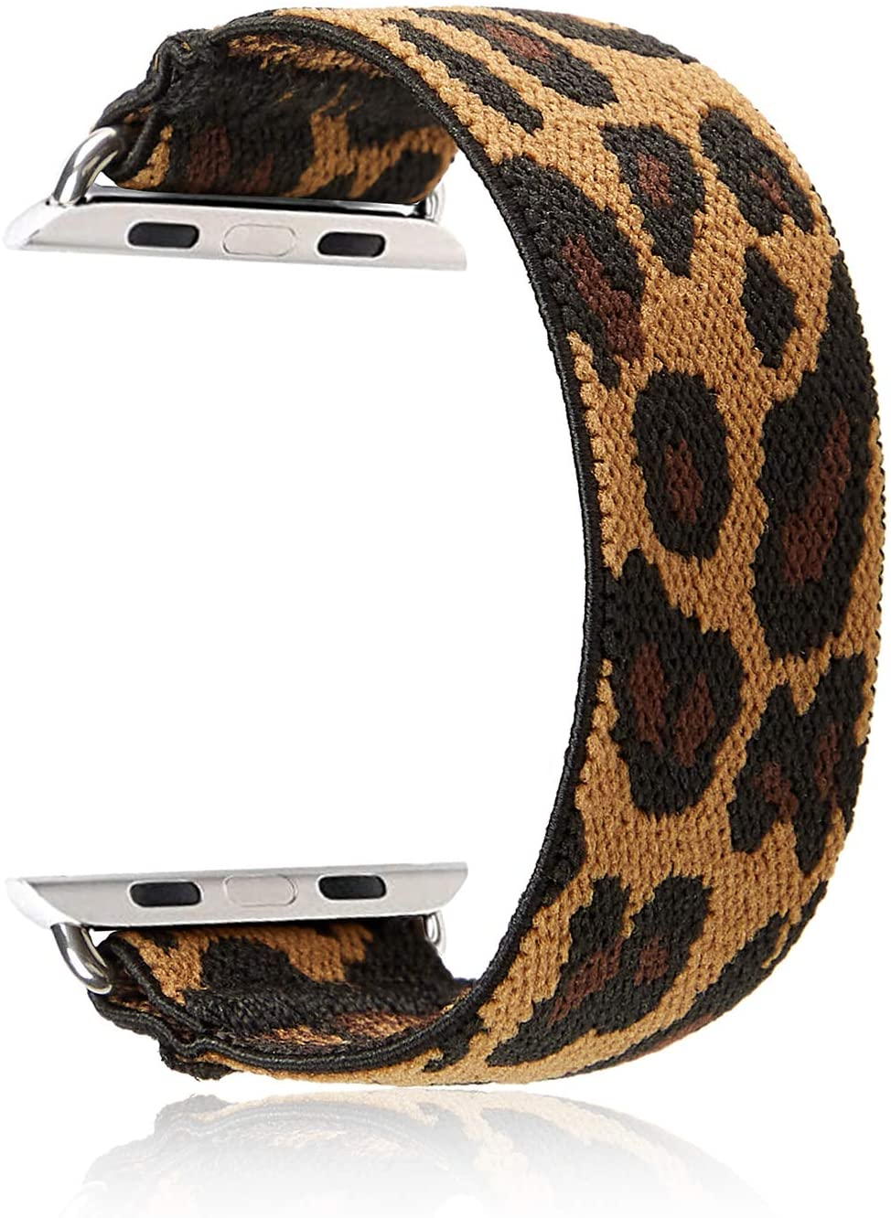 Elastic Band Compatible for Apple Watch, Scrunchie Stretch Wristbands Replacement Bracelet Loop Sport Strap for iWatch Series 1 2 3 4 5, Men Women Girls, Cheetah, 38/40mm, L