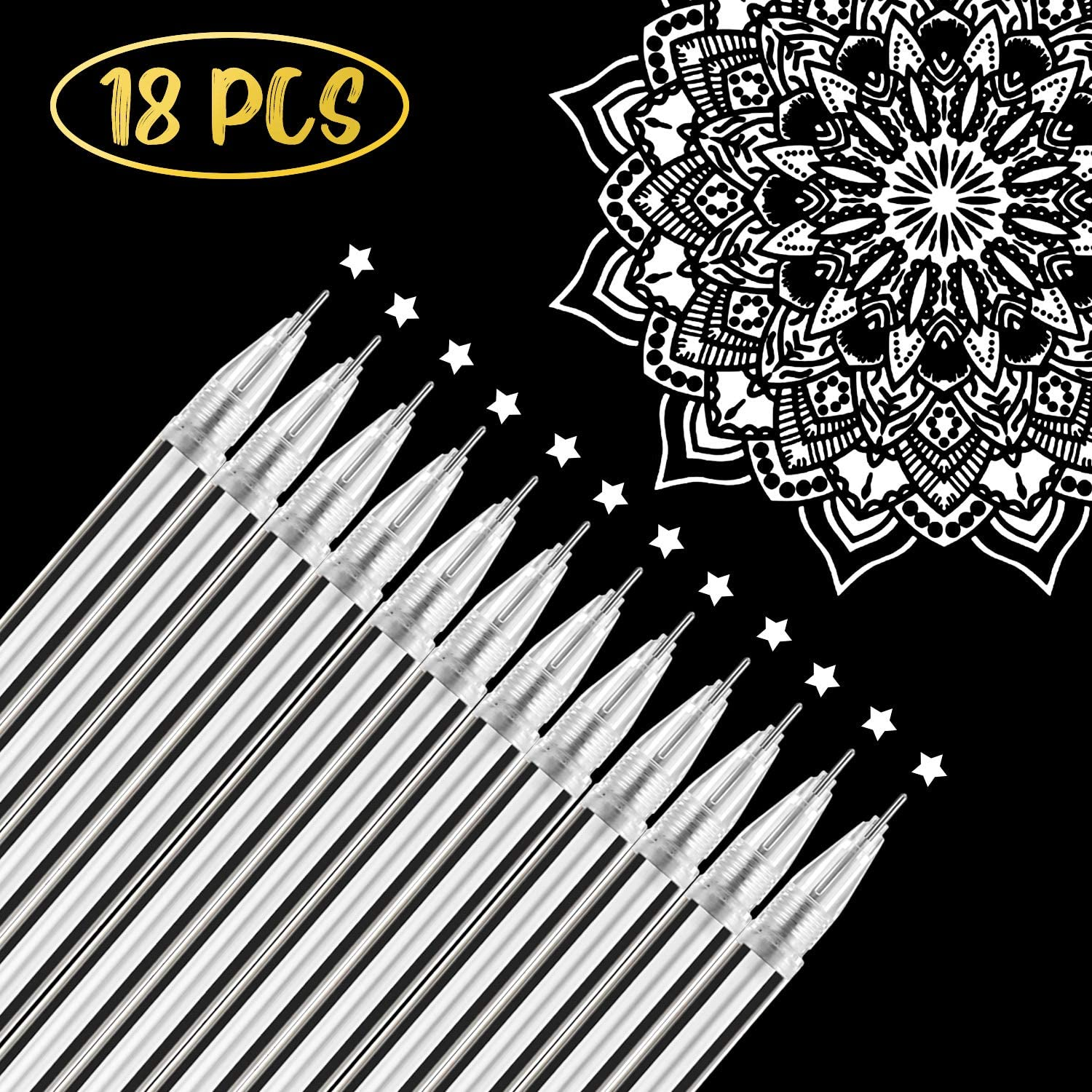 18 Pieces Gel Ink Pens Highlight Drawing Art Design Supplies 0.5 mm Pens for Black Paper Drawing Sketching Illustration Journaling Wedding Invitations and Adult Coloring Book (White)