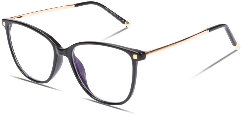 DUCO Blue Light Blocking Glasses,Reduce Eye Strain and Fatigue Gaming Glasses Blue Blockers Computer Reading Glasses DC5209 (Shine Black)