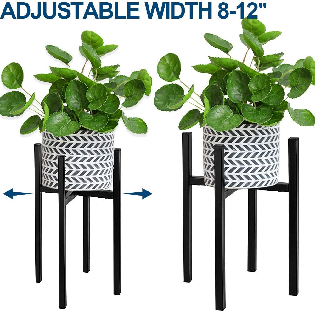 Adjustable Plant Stand, Angela&Alex Indoor Mid Century Plant Holder Modern Metal Planter Fits Medium & Large Pots Sizes for Indoor Outdoor Planters- Adjustable Width 7