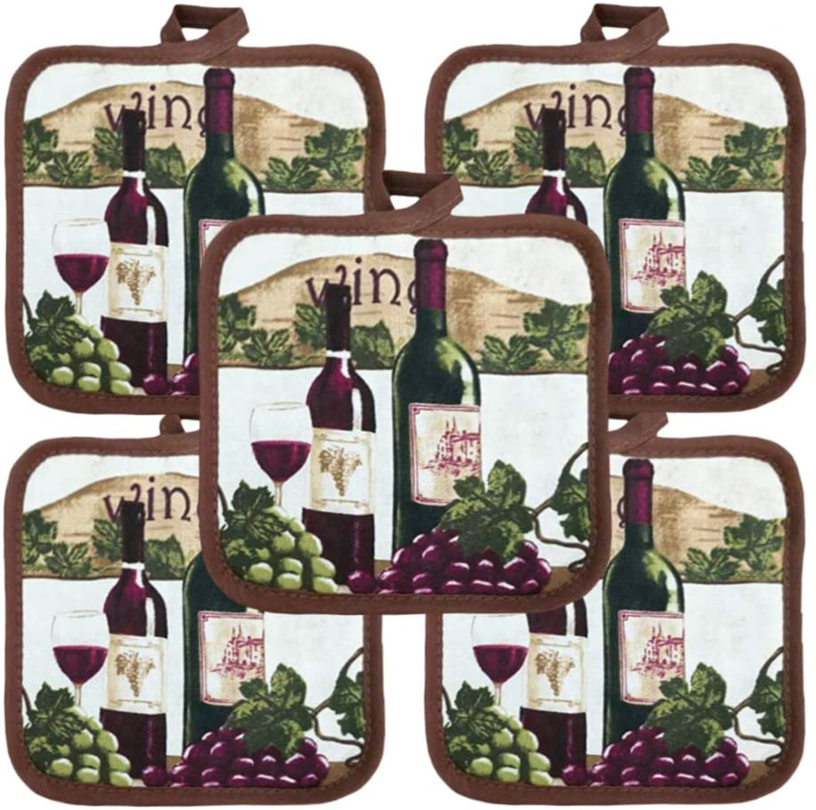 American Linen 10 Pack Economy Everyday Potholders 6.5 Square Perfect for Any Kitchen (Wine)