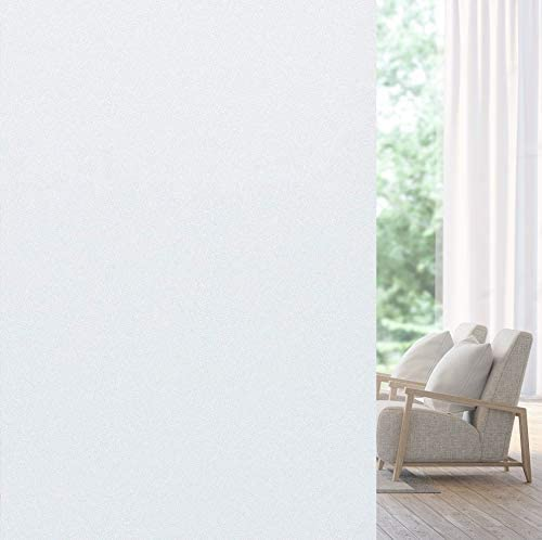 Privacy Window Film, Matte White Window Film No Glue, Frosted Glass Stickers Heat Control UV Blocking, Non Adhesive for Home Bathroom Office Living Room, 35.4 Inch x 32.8 Feet, Frosted White