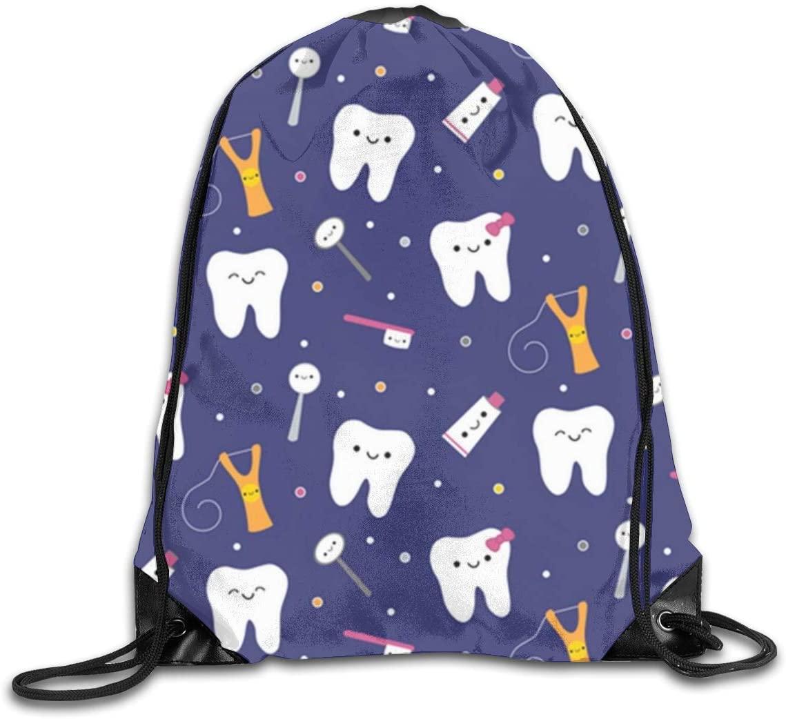 Happy Teeth Drawstring Bag Bulk Storage Backpack Polyester Cinch Sacks String Portable Sackpack for School Travel Gym Sports for Men Women Kids