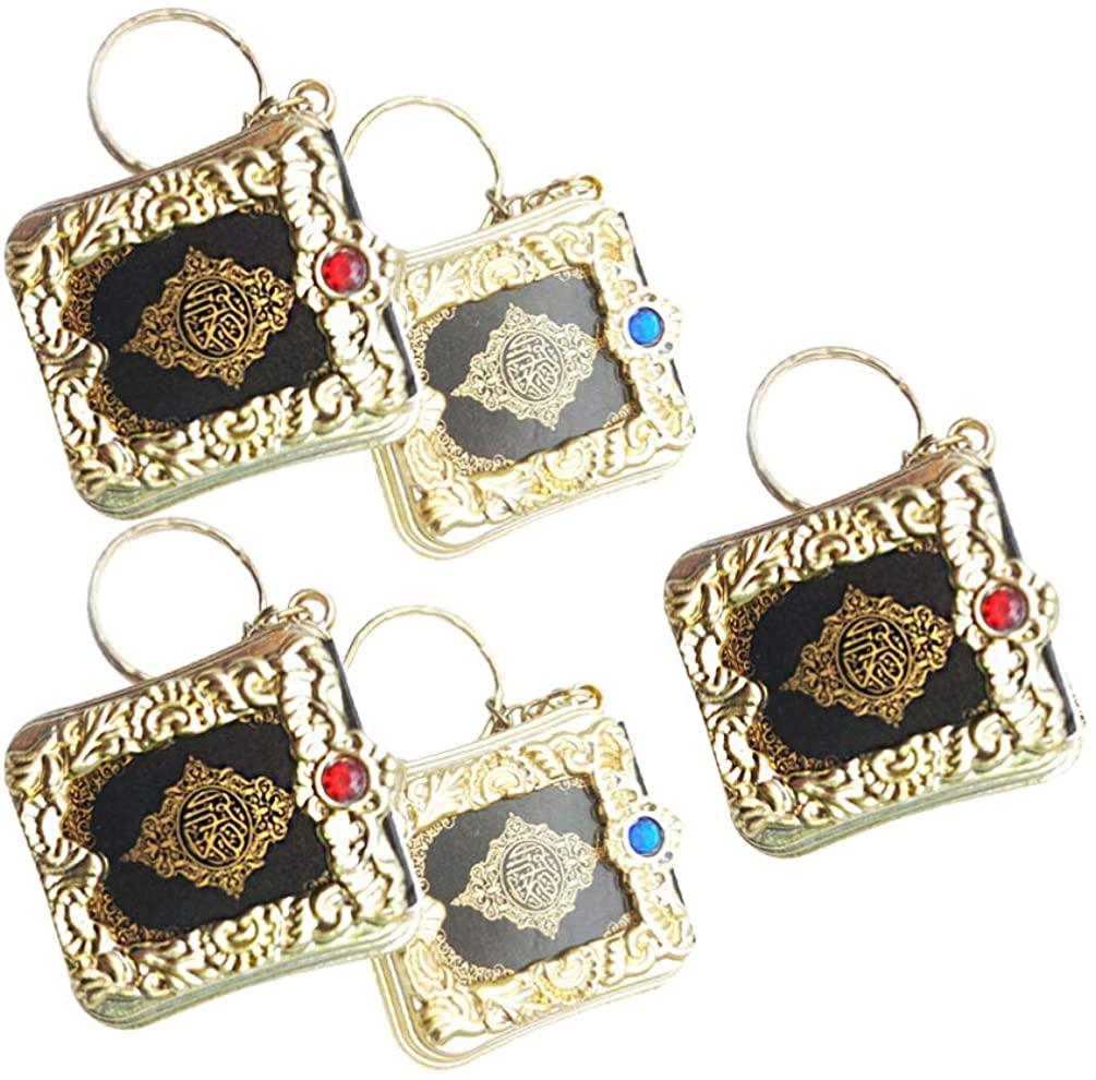 LIOOBO 5pcs Muslim Keychain Islamic Vintage Mini Al-Quran Keyring Car Mirror Hanging Decor Bag Purse Ornament for Christmas Wedding Gift (Random Color)
