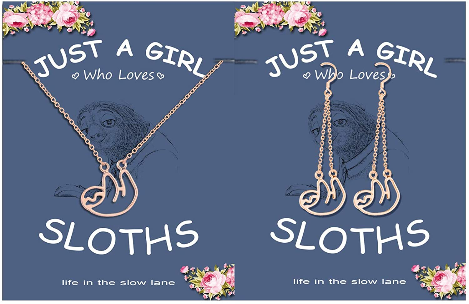 Charm Animal Sloth Drop Earrings Necklace Set,Long Chain Tassel Sloth Earrings Cute Sloth Pendant Necklace with Message Card for Women Teen Girls Child Inspired Jewelry