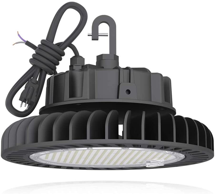 HYPERLITE 4000K Fixture LED UFO High Bay Lights 200W Daylight 28,000lm 1-10V Dimmable 5' Cable with 110V Plug Hanging Hook Safe Rope UL/DLC Approved for Shopping Mall Stadium Exhibition Hall