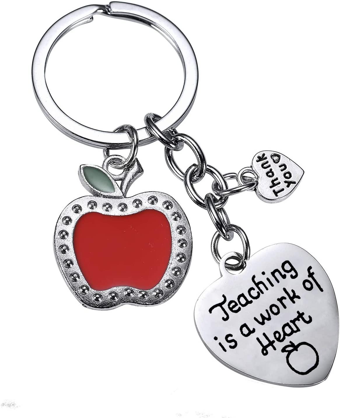 BESPMOSP Teacher Thank You Heart Keychain Teaching Keyring Appreciation Graduation Gifts Women Teacher's Day Jewelry