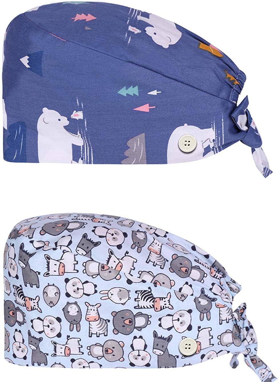 CASDAN 2 Pcs Cute Cotton Printed Working Cap with Button Sweatband Tie Back Bouffant Hat for Women Men Adjustable