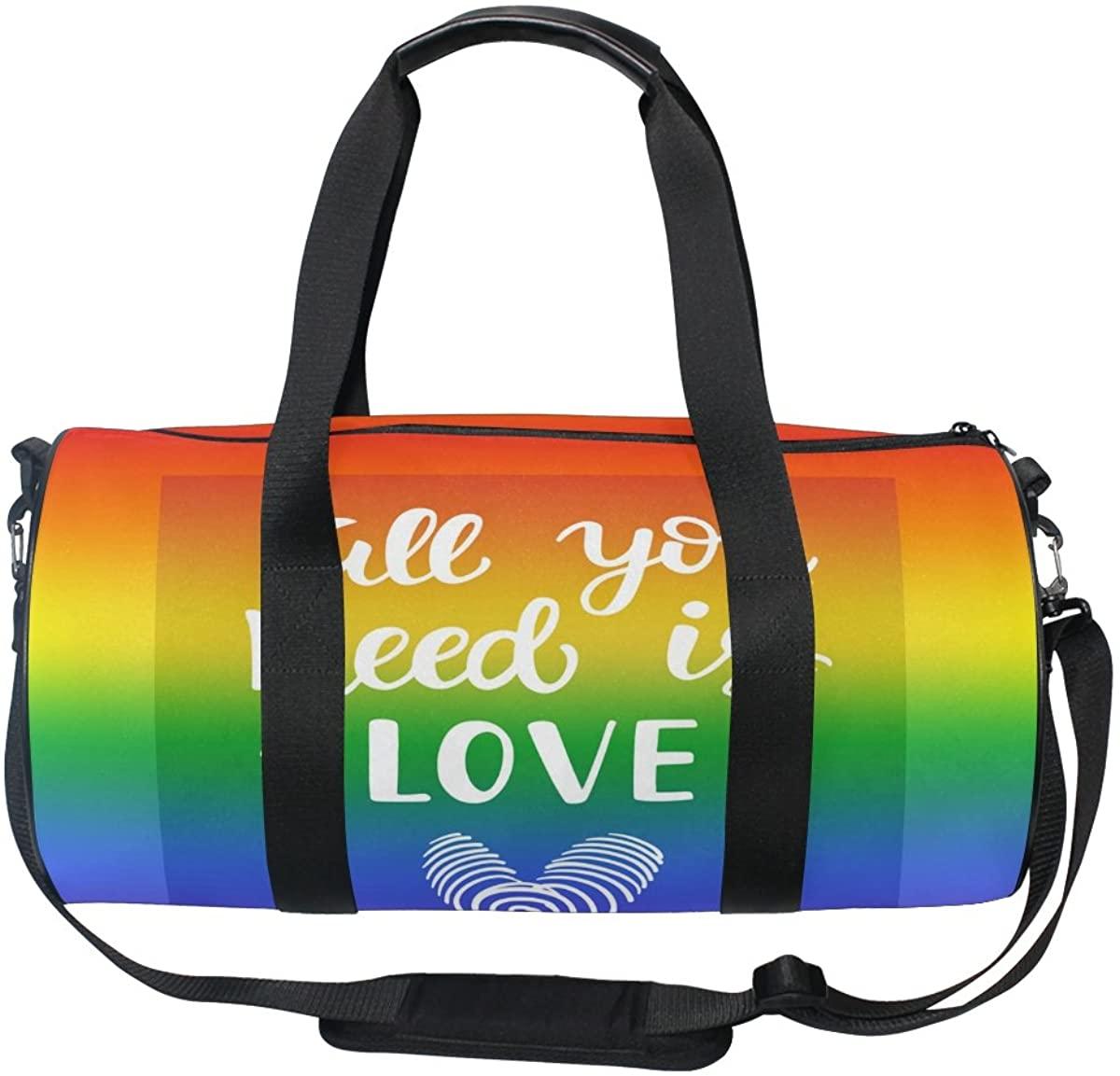 ALAZA Stylish Rainbow Quote Sports Gym Duffel Bag Travel Luggage Handbag for Men Women