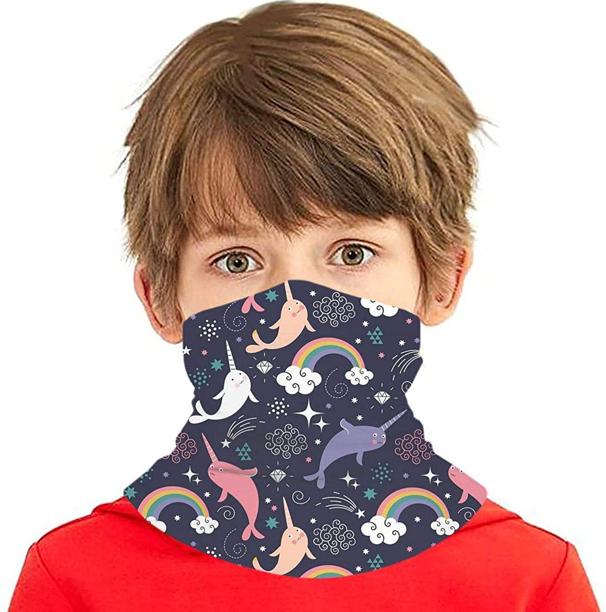 Kids Face Mask Reusable Navy Blue Dinosaur Bandanas Neck Gaiter for Dust Sun Protection
