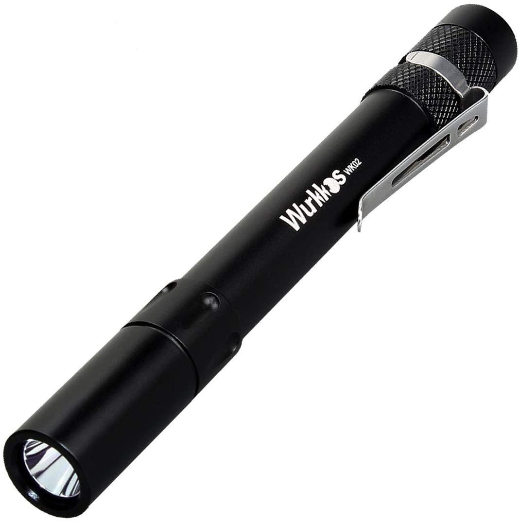 Wurkkos Portable LED Pen Light Flashlight, Small EDC 300 Lumens Penlight for Inspection, Repair, Camping. IPX68 Water-Resistant, 3 Modes (High, Medium, Low) (Black6500k)