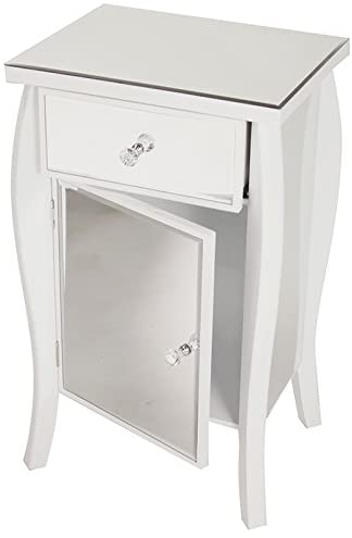 Heather Ann Creations Bombe Style Single Drawer Accent Cabinet/Console with Full Mirrored Finish, 30.5
