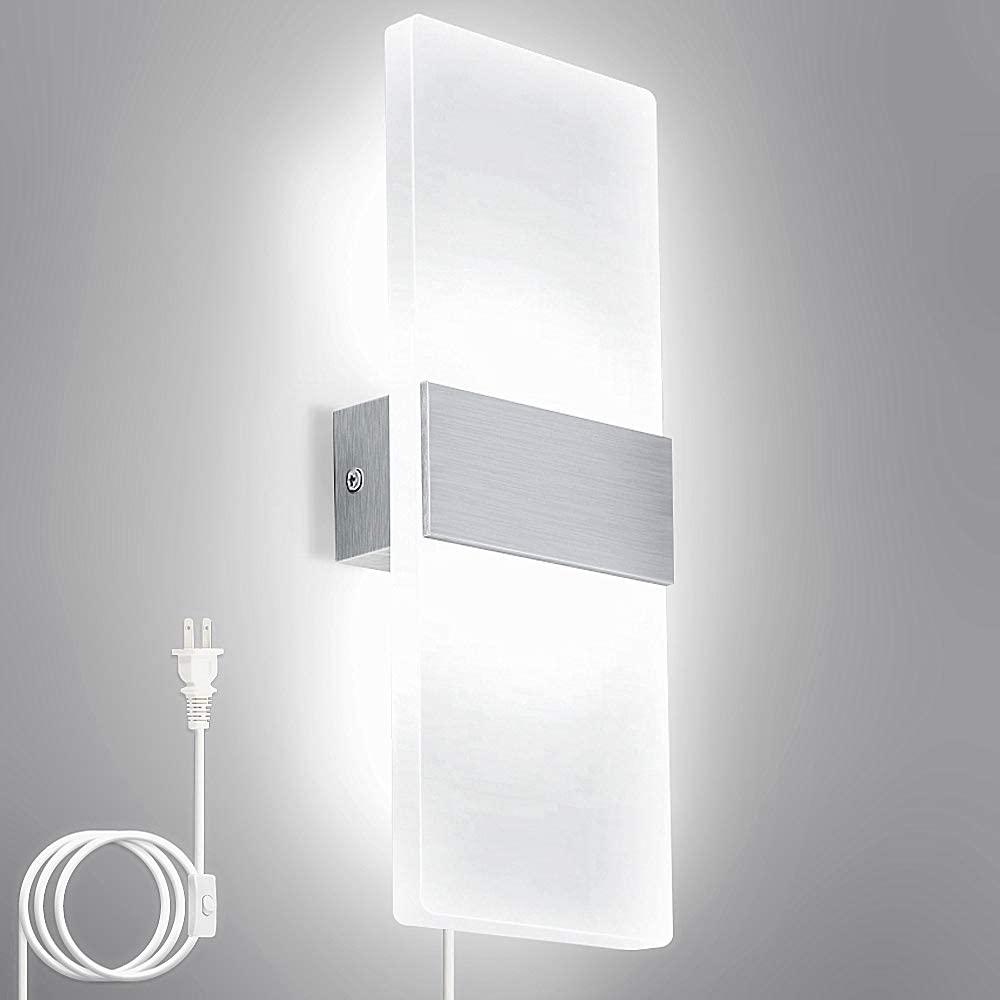 Lightess Up Down Wall Lights 12W Plug-in LED Sconce Lighting Acrylic Modern Wall Lamp for Living Room Bedroom Corridor Cool White, 1-Light