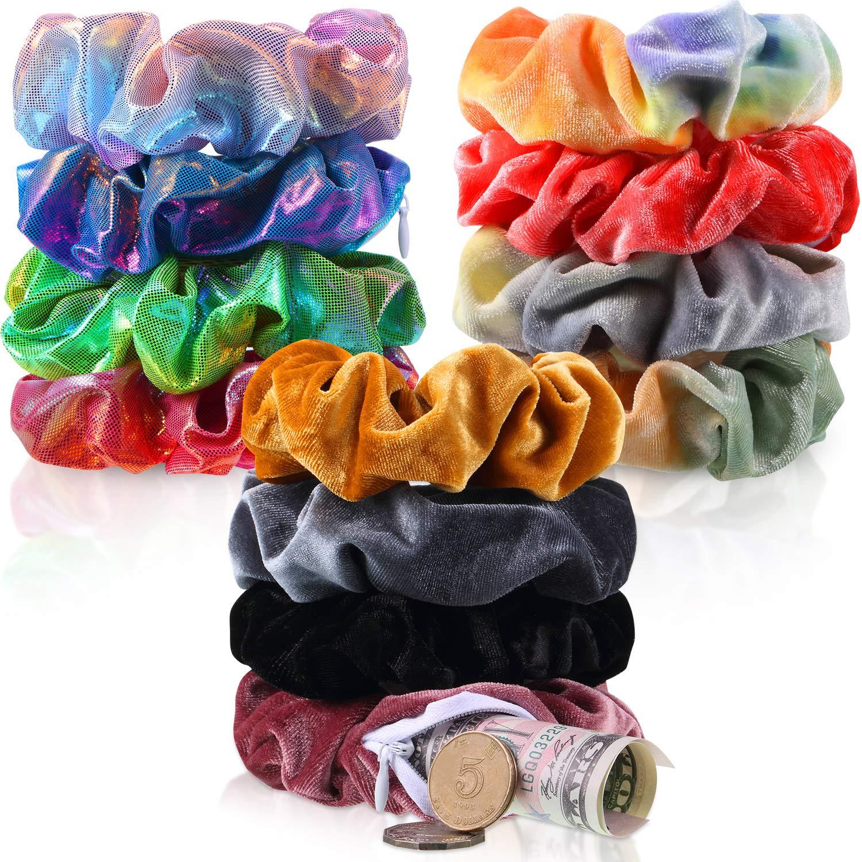 12 Pieces Velvet Hidden Pocket Scrunchies Hair Tie with Zipper Shiny Metallic Scrunchy Hair Band Rainbow Tie Dye Stash Ponytail Holder Hair Accessories for Women Girls Kids