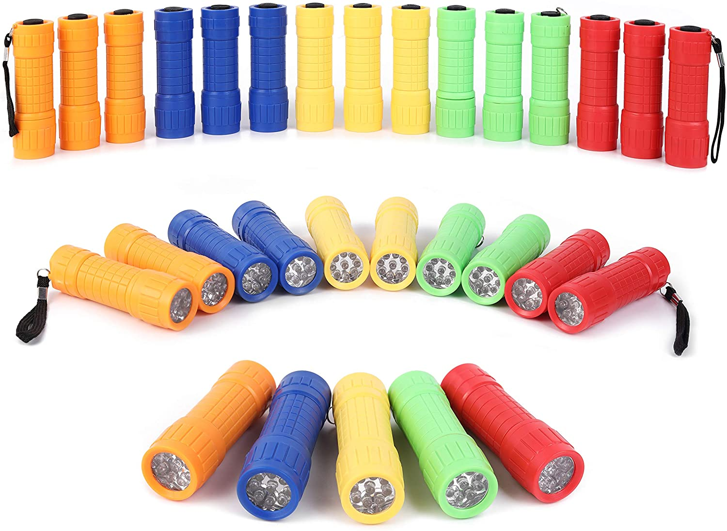 30-Pack Small Mini Flashlight Set, 5 Colors, 9-LED Handheld flashlight with Lanyard,90-Pack AAA Battery Included for Kids/Night Reading/Party/Camping/Emergency/Hunting (30)