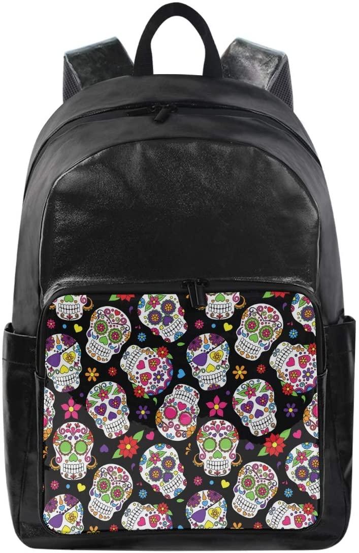 WXLIFE Floral Flower Sugar Skull Backpack Waterproof Computer Bag Laptop Travel Sports Shoulder Bag Hiking Camping Daypack