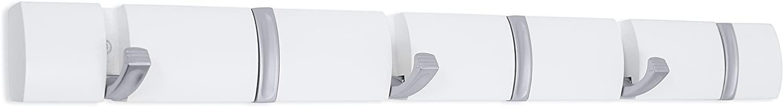 BIRDROCK HOME Wall Mounted Folding Hooks - 6 Folding Coat and Hat Rack Hooks - Satin Nickel Hooks - White Rail