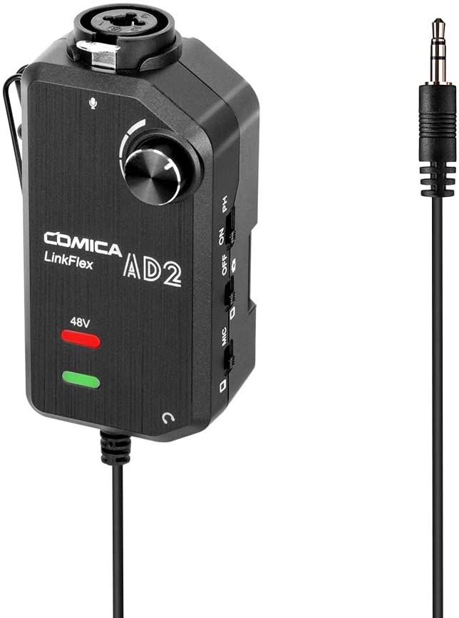 CoMica LinkFlex AD2 XLR /6.35mm-3.5mm Microphone Preamp Amplifier Audio Adapter Universal Replacement for Camera Smartphone Guitar Interface