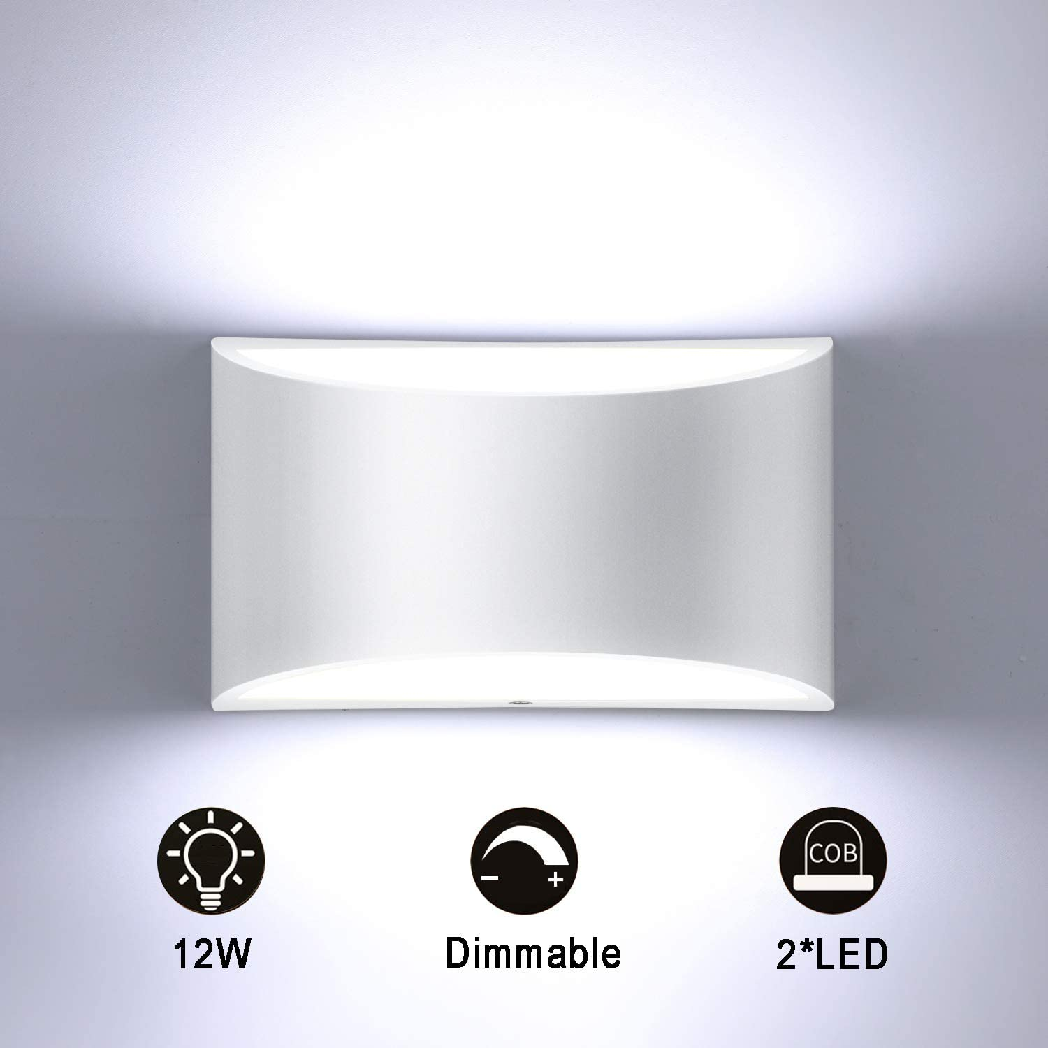 Lightess Dimmable Wall Sconces Indoor Up Down Wall Lamps Modern Wall Mounted Sconce Lighting Fixtures 12W White Hallway Wall Lighting Hardwired for Bedroom Living Room Stairs, Cool White