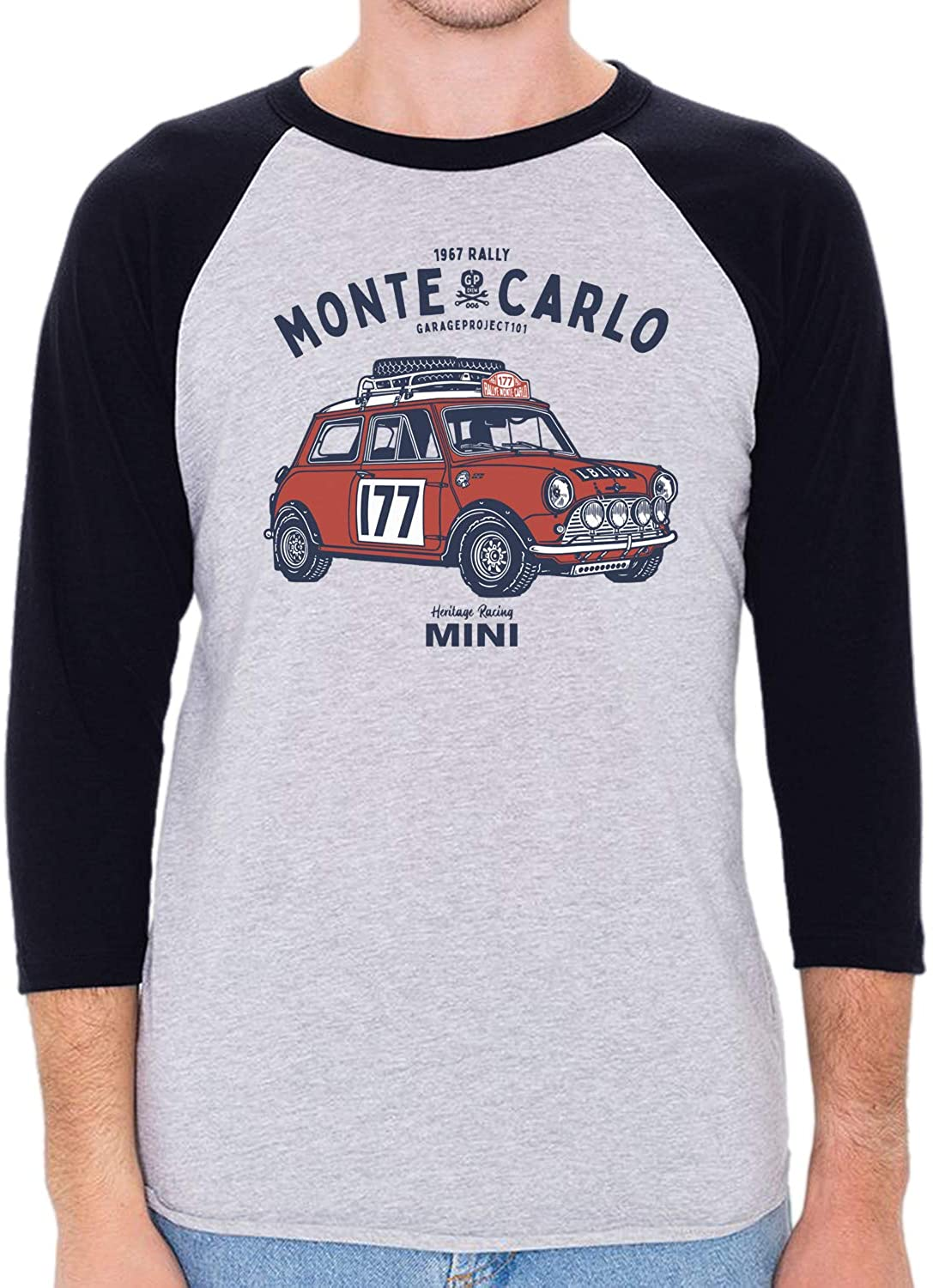 GarageProject101 GP Crew 006 Classic Mini Cooper Monte Carlo Rally 3/4 Sleeve Baseball Shirt