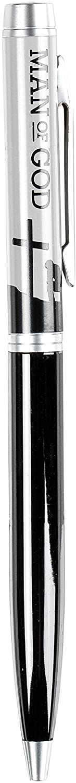 Man of God Midnight Black 5 inch Quality Metal Ballpoint Stick Pen On Card