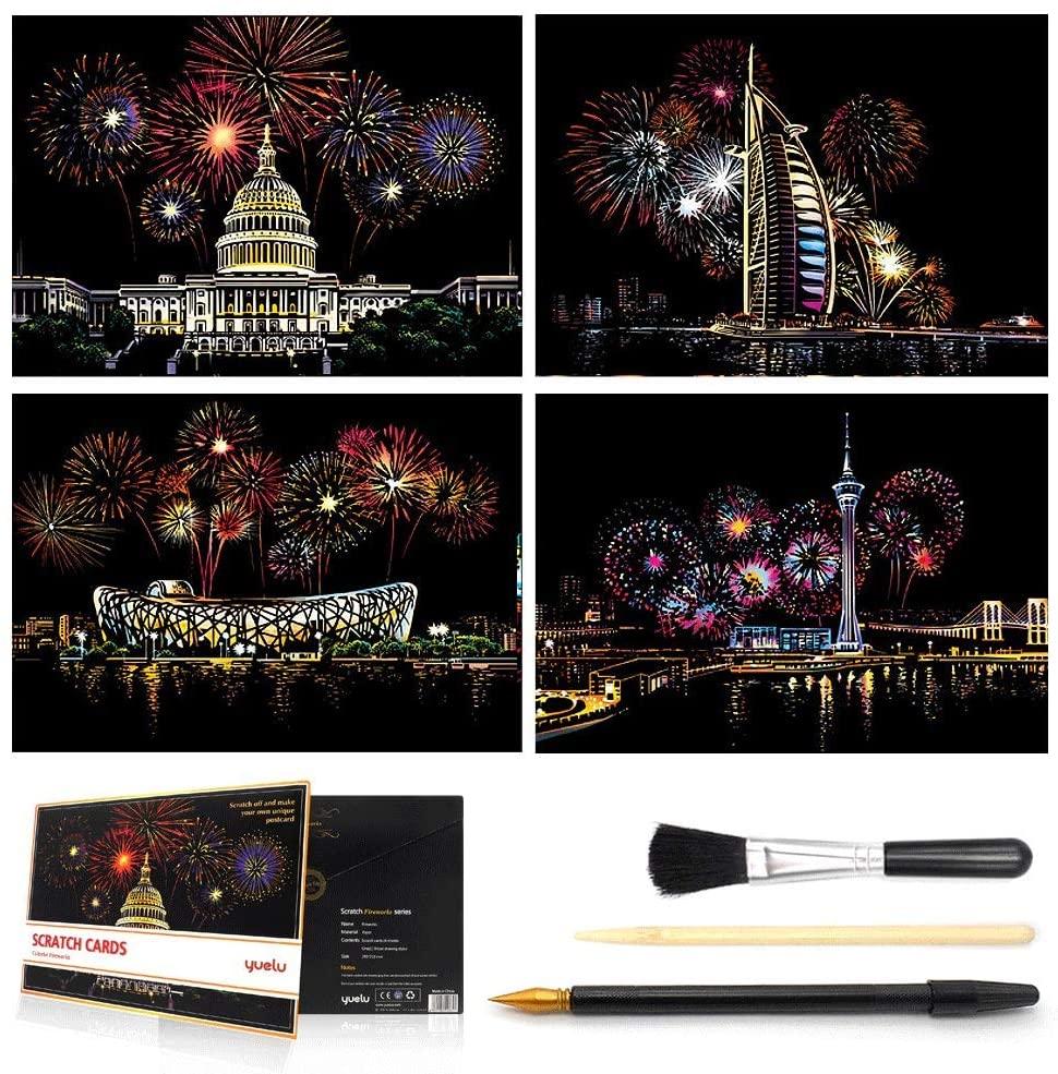 MIASTAR Scratch & Sketch Art for Kids & Adults, Rainbow Painting Night View Scratchboard(A4), Art & Craft, Scratch Art Set: 4 Sheets Scratch Cards & Scratch Drawing Pen, Clean Brush (City Fireworks)