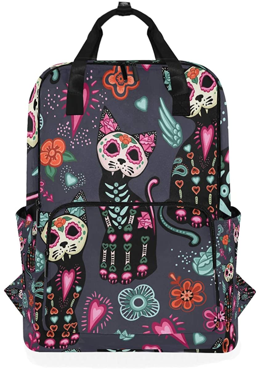 Kaariok Fantasy Cat Skull Flower Vintage Halloween Backpack School Travel Daypack Laptop College Bookbag 14 Inch Doctor Bag