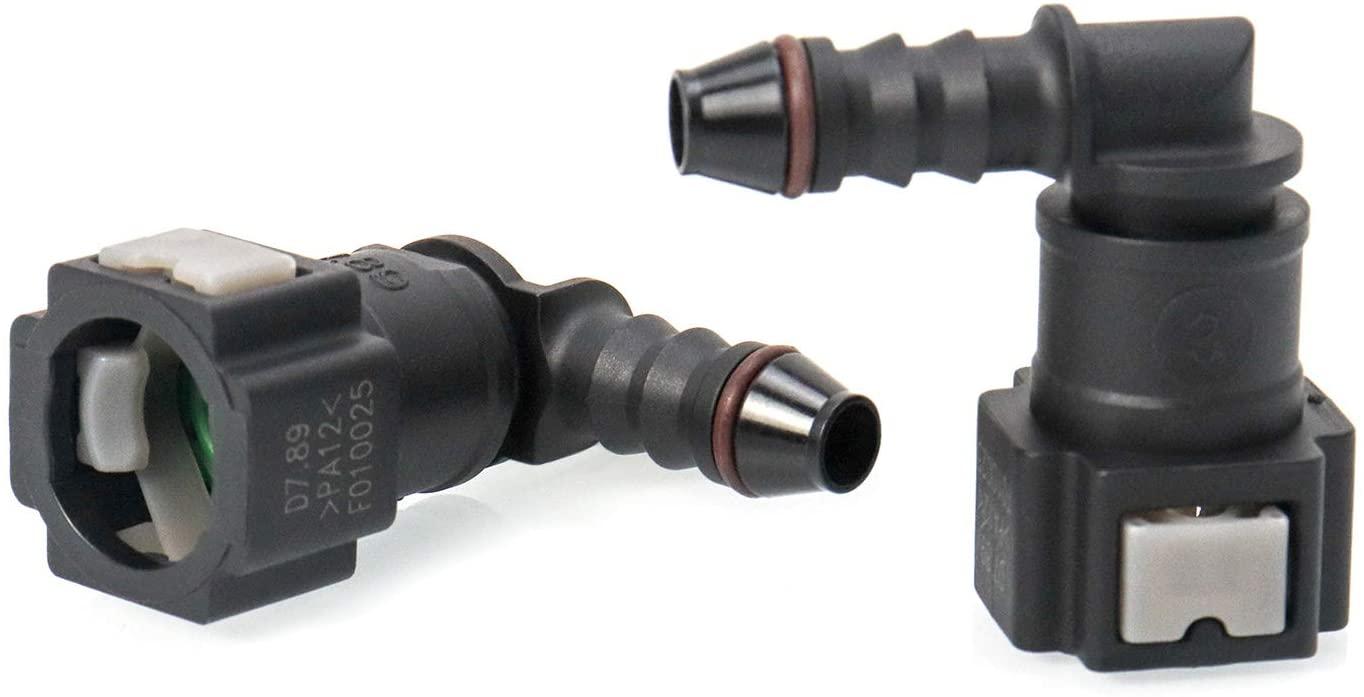 QWORK 2 Pcs Fuel Line Connector,90 Degree Quick Connector for 1/4
