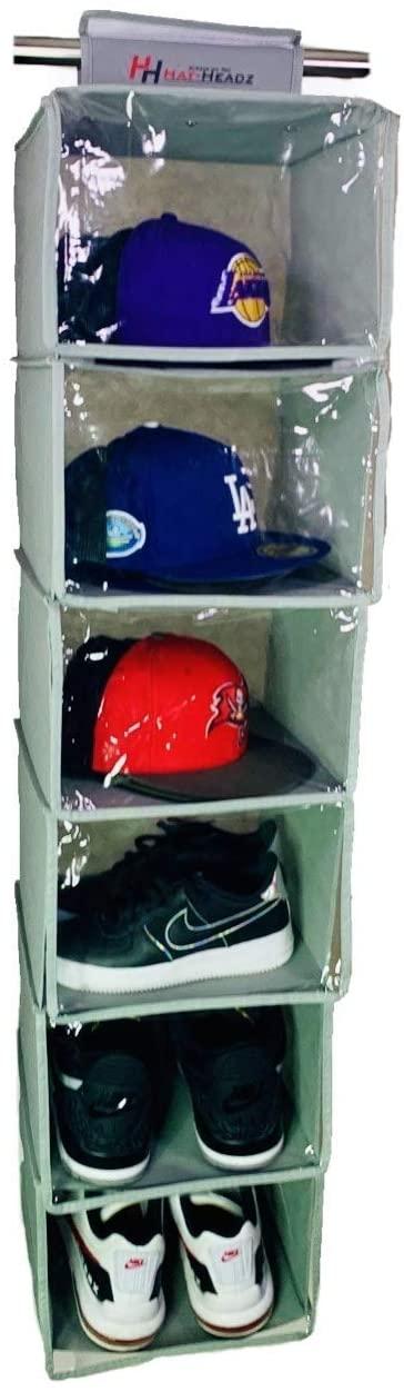 "Hat-Headz Hanging Closet Organizer 6 Shelves PVC Curtain Protection 12""x 12"" 48"