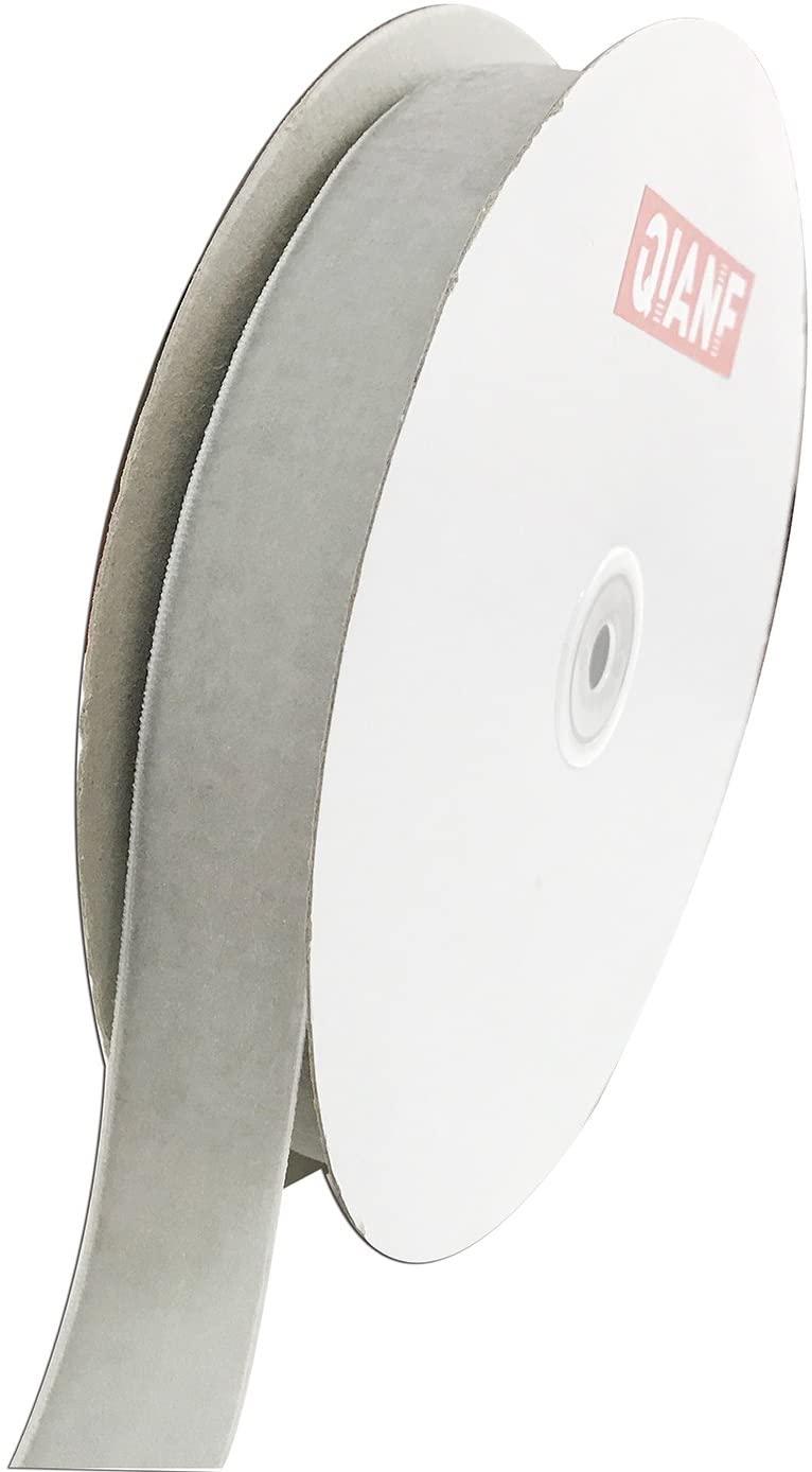 QIANF Vintage Silver Velvet Ribbon, 1 Inch X 25Yd