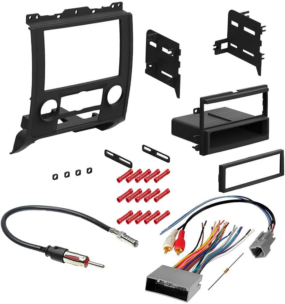 CACHÉ KIT365 Bundle with Car Stereo Installation Kit for 2008 – 2012 Ford Escape – in Dash Mounting Kit, Antenna, OEM Harness for Single or Double Din Radio Receiver (4 Item)