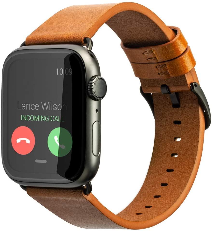 SINGEAR Genuine Leather Compatible Apple Watch Band 42mm 44mm Series 5 4 3 2 1, Women Men Retro Strap,Coffee,Black Buckle