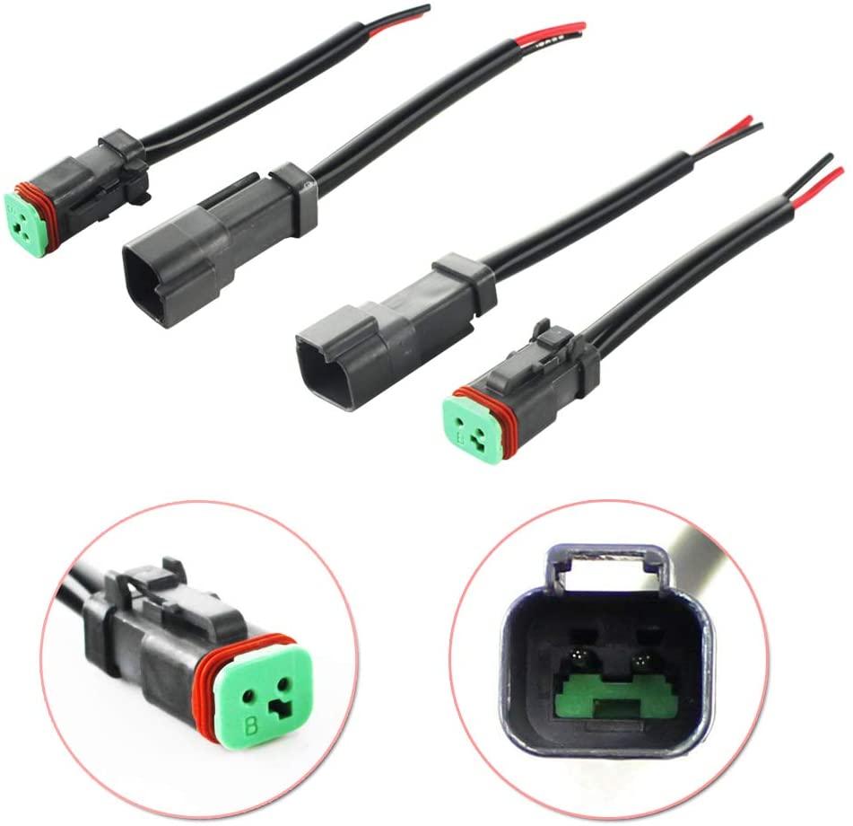 GTINTHEBOX 4PCS Heavy Duty Waterproof 2-Pin Deutsch DT DTP Male/Female Adapters Plug Connectors Pigtails, Good For Cubic LED Pod Lights, LED Light Bar, LED Work Lamps, Fog Lights, DRL, etc