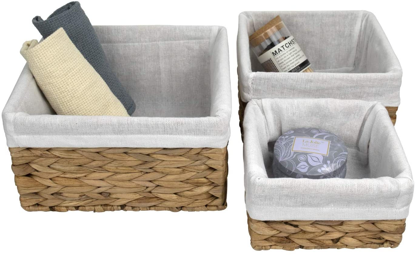 LA JOLIE MUSE Storage Baskets (Pack 3), Rustic Water Hyacinth Woven Baskets for Bathroom, Living Room, Organizing Decorative Baskets w Detachable Lining