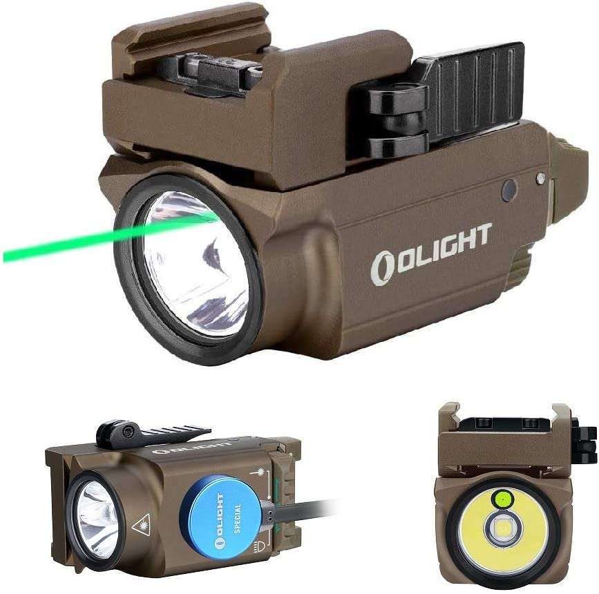 OLIGHT Baldr Mini 600 Lumen Pistol Light and Green Laser Combo (Class IIIA <5mw Safe Laser Output, PL-Mini 2 Combo) Tactical LED Flashlight Magnetic Rechargeable with Built-in Battery