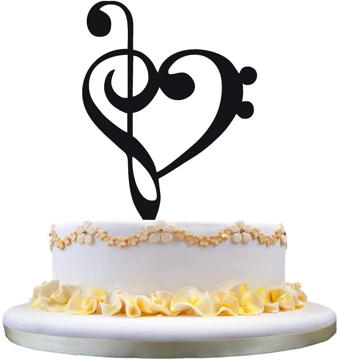 zhongfei Musician Wedding Gifts,Music Note Silhouette Wedding Cake Topper