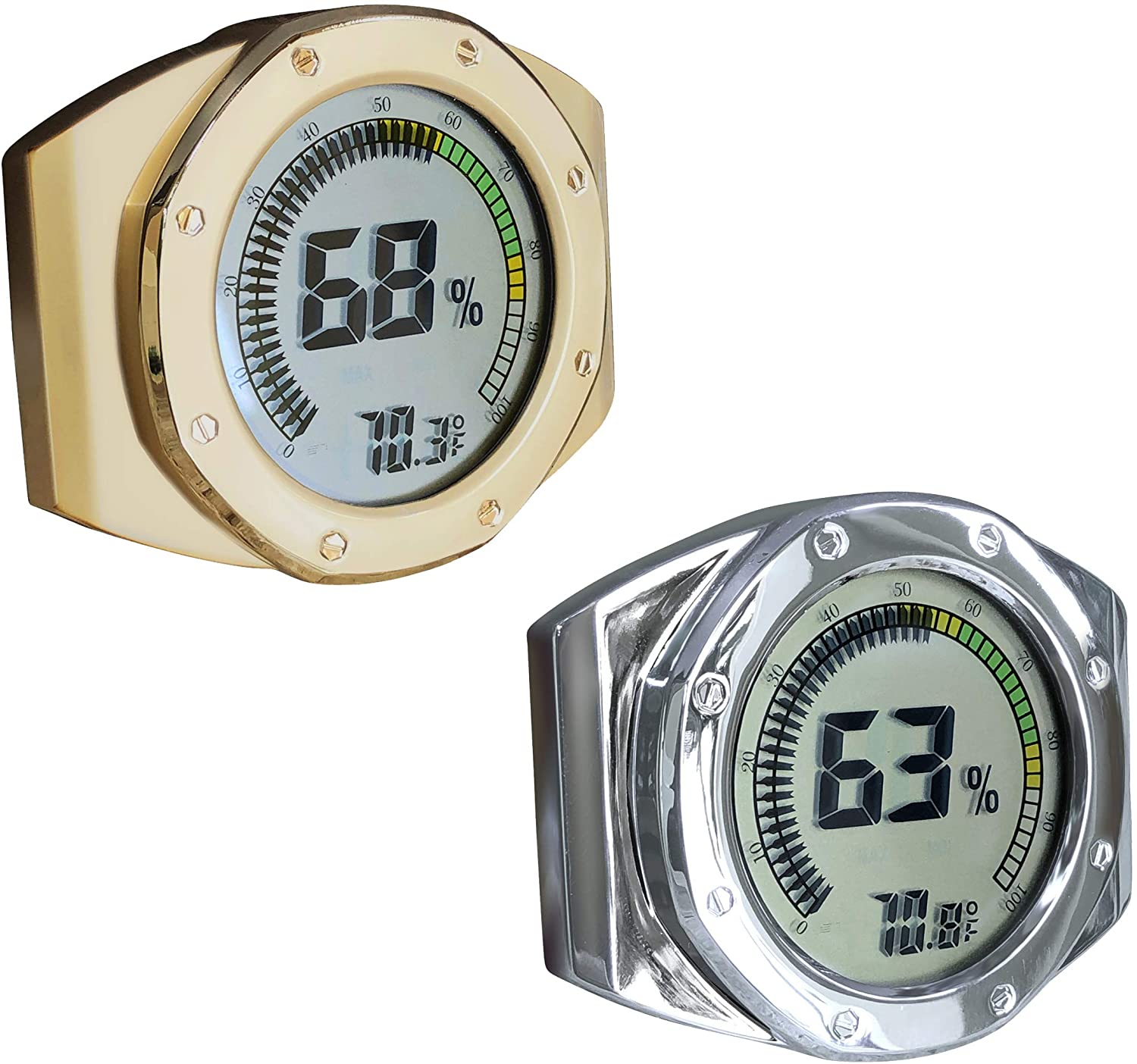 Prestige Import Group Distinctive Watch Style Bezel & Case Thermometer Hygrometer for Humidity & Temperature Monitoring with Digital LCD Display Gauge - 2 Pack (1 Silver, 1 Gold)