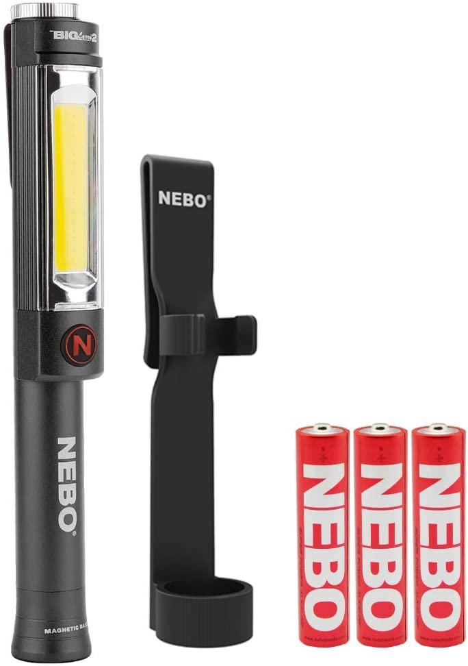 NEBO Big Larry 2 Work Light Flashlight 500 Lumen LED Magnetic Base Bundle with Big Larry Holster (Grey)